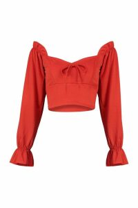 Womens Petite Long Sleeve Peasant Neck Blouse - orange - 12, Orange