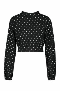 Womens Petite High Neck Tie Back Spot Blouse - black - 14, Black