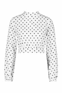 Womens Petite High Neck Tie Back Spot Blouse - White - 14, White