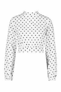 Womens Petite High Neck Tie Back Spot Blouse - white - 14, White
