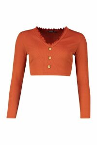 Womens Petite Lettuce Hem Button Up Long Sleeve Crop Top - Orange - 14, Orange