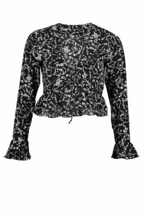 Womens Petite Ruffle Detail Lace Up Floral Top - black - 10, Black