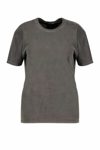 Womens Plus Washed Effect T-Shirt - grey - 16, Grey