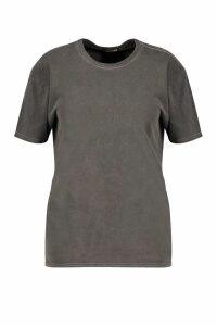 Womens Plus Washed Effect T-Shirt - grey - 22, Grey