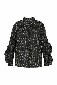 Womens Plus Heart Print Ruffle Boyfriend Shirt - black - 18, Black