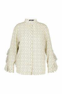 Womens Plus Heart Print Ruffle Boyfriend Shirt - white - 18, White