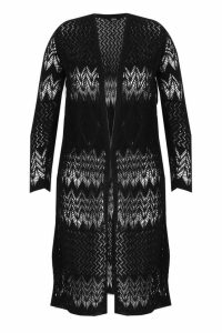 Womens Plus Crochet Knitted Long Line Cardigan - black - 20-22, Black