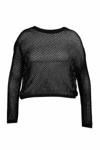Womens Plus Crochet Oversized Knit Jumper - black - 20, Black