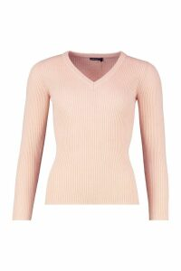 Womens Petite Ribbed V-Neck Jumper - pink - S, Pink