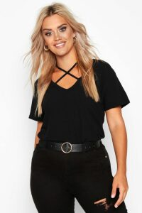 Womens Plus Cross Front Strap Ribbed T-Shirt - black - 24, Black