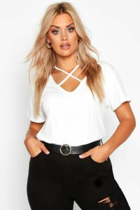 Womens Plus Cross Front Strap Ribbed T-Shirt - White - 18, White