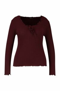 Womens Plus Soft Rib Ruffle Jumper - red - 18, Red