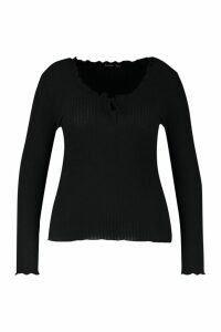 Womens Plus Soft Rib Ruffle Jumper - black - 18, Black