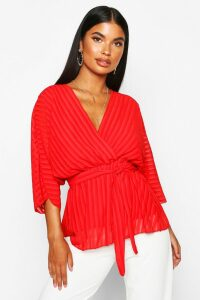 Womens Petite Woven Sheer Stripe Wrap Batwing Blouse - red - 10, Red