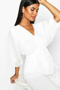 Womens Petite Woven Sheer Stripe Wrap Batwing Blouse - white - 12, White