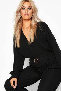 Womens Plus Woven Button Through Collarless Shirt - black - 22, Black