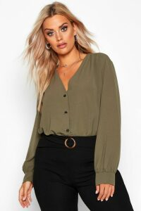 Womens Plus Woven Button Through Collarless Shirt - Green - 22, Green