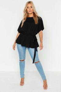 Womens Plus Slash Neck Tie Waist Peplum Hem Top - Black - 20, Black