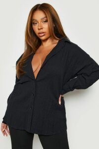 Womens Plus Shirred Oversized Shirt - black - 24, Black