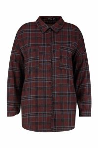 Womens Plus Check Shirt - maroon - 20, Maroon