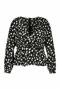 Womens Plus Animal Plunge Blouse - black - 26, Black