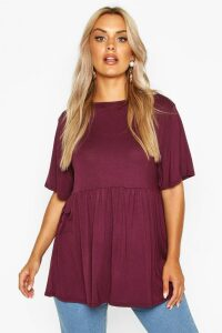Womens Plus Jersey Frill Hem Smock Top - red - 26, Red