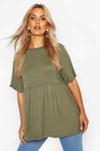 Womens Plus Jersey Frill Hem Smock Top - green - 20, Green