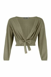 Womens Petite Knitted Rib Tie Front Top - green - 10, Green
