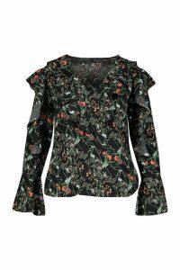 Womens Plus Floral Ruffle Woven Top - black - 16, Black