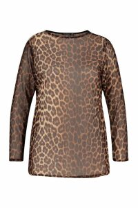Womens Plus Leopard Mesh Longsleeve Top - brown - 26, Brown