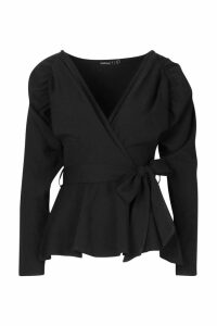 Womens Petite Crepe Ruched Puff Sleeve Wrap Top - black - 8, Black