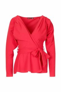 Womens Petite Crepe Ruched Puff Sleeve Wrap Top - red - 10, Red