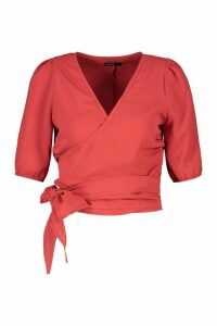 Womens Petite Wrap Detail Woven Blouse - orange - 8, Orange