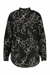 Womens Plus Line Drawing Utility Shirt - black - 24, Black
