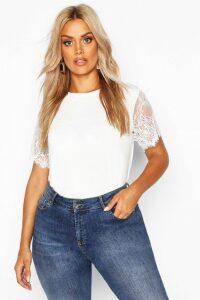 Womens Plus Eyelash Lace Sleeve T-Shirt - White - 18, White