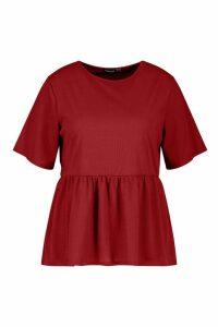 Womens Plus Rib Ruffle Sleeve Smock Top - red - 24, Red
