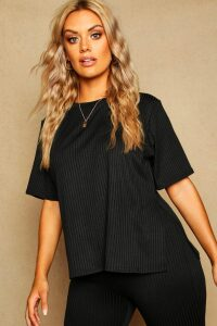 Womens Plus Oversized Side Split Ribbed Tee - black - 18, Black
