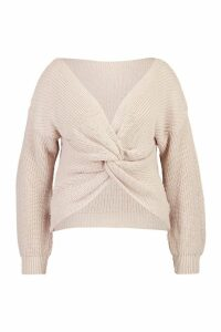 Womens Plus Twist Front Knitted Jumper - beige - 22, Beige