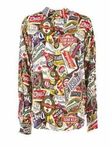 Dsquared2 Ecru All-over Print Shirt