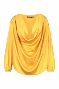 Womens Plus Satin Cowl Long Sleeve Blouse - yellow - 20, Yellow