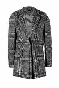 Womens Petite Check Coat - black - 10, Black