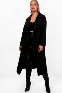 Womens Plus Wool Look Coat - Black - 24, Black