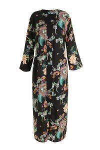 Womens Plus Paisley Floral Longline Kimono - Black - 16, Black