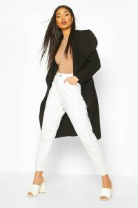 Womens Belted Shawl Collar Coat - black - One Size, Black