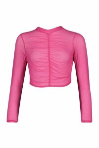 Womens Ruched Front High Neck Mesh Top - Pink - 6, Pink
