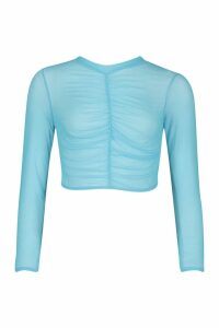 Womens Ruched Front High Neck Mesh Top - azure - 12, Azure