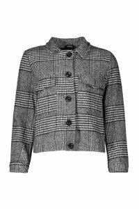 Womens Checked Wool Look Trucker - grey - 12, Grey
