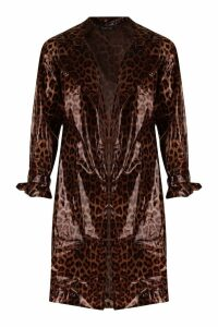 Womens Leopard Vinyl Trench - brown - 12, Brown