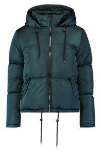 Womens Hooded Padded Jacket - Green - 14, Green