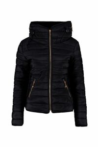 Womens Quilted Jacket - black - L, Black